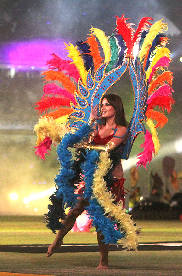 A dancer performs during the closing ceremony of the Indian Premier League