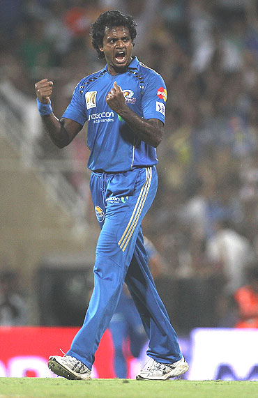 Dilhara Fernando celebrates after dismissing M Vijay