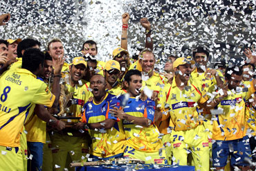 Chennai Super Kings players celebrate after winning IPL III