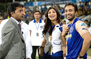 Lalit Modi (left) with Rajasthan Royals' co-owners Shilpa Shetty (centre) and Raj Kundra