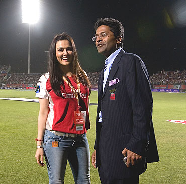 Preity Zinta, co-owner of Kings XI Punjab with Lalit Modi