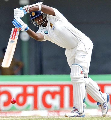 Sri Lanka's Angelo Mathews plays a shot during the second day of their third and final test cricket match against India in Colombo