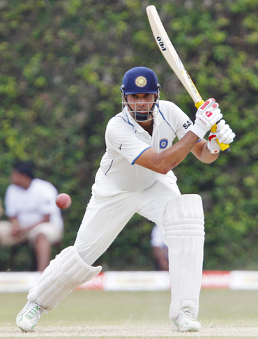India's Vangipurappu Laxman plays a shot