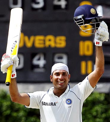 VVS Laxman celebrates scoring his century