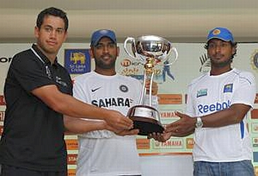 Ross Taylor, Kumar Sangakkara and MS Dhoni