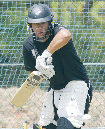 New Zealand captain Ross Taylor takes strike during a practice session in Dambulla on Thursday