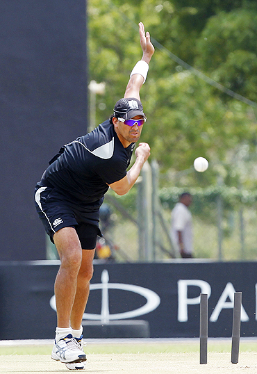 New Zealand's Daryl Tuffey bowls in the nets during a practice session in Dambulla on Thursday