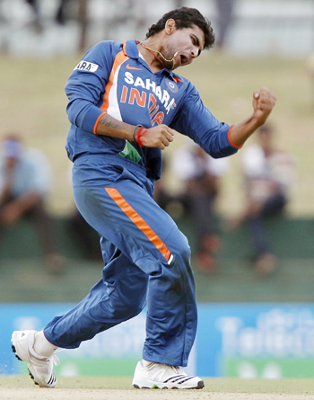 India's Ravindra Jadeja celebrates taking the wicket of Sri Lanka's Angelo Mathews