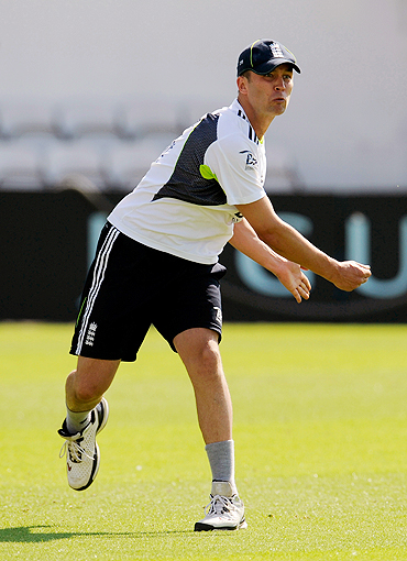 England's Jonathan Trott goes through the grind during a training session