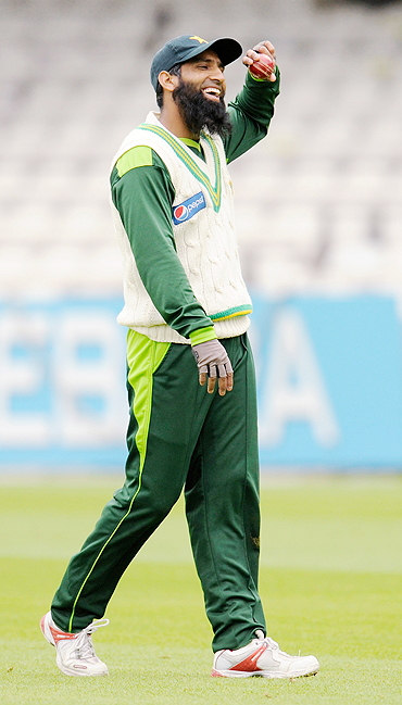 Mohammad Yousuf laughs during a practice session