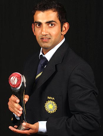 Gautam Gambhir after winning the ICC Test Player of the Year 2009 award
