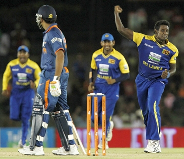 Angelo Mathews celebrates after picking a wicket