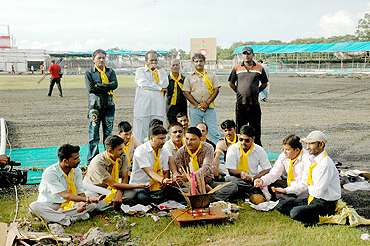 Rajkot Congress workers and cricket fans attend the besna of the Scindia cricket ground in Rajkot