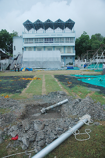 The Madhavrao Scindia cricket ground in a damaged state