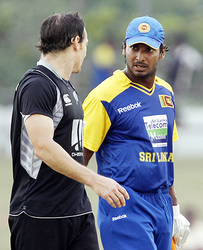 kumar sangakkara argues with nathan mcculum after the duo collided during the fourth one-dayer on friday