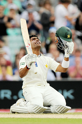 Umar Akmal celebrates after Pakistan defeated England at the Oval on Saturday