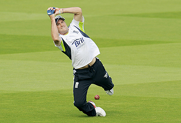 Andrew Strauss during fielding practice on Wednesday