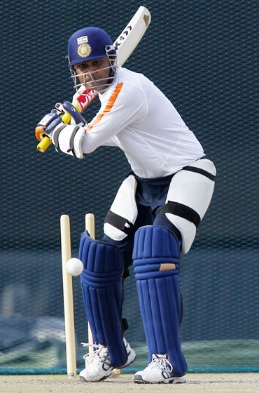 Virender Sehwag gets batting practice