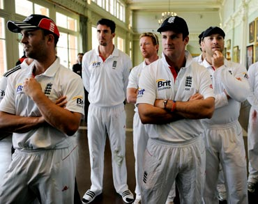 England's captain Andrew Strauss and his team mates wait in the Long Room for the presentations at Lord's