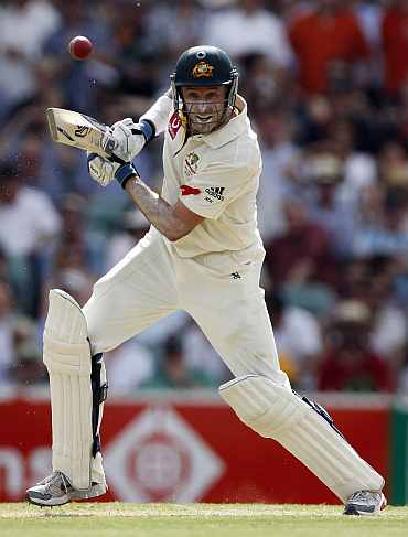 Mike Hussey plays a shot during the second Ashes Test in Adelaide