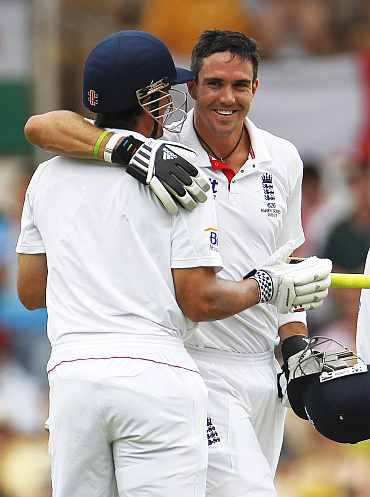 Kevin Pietersen reacts after making a century during the second Ashes Test in Adelaide