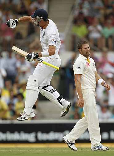 Kevin Pietersen jumps after making his double century duing the second Ashes in Adelaide
