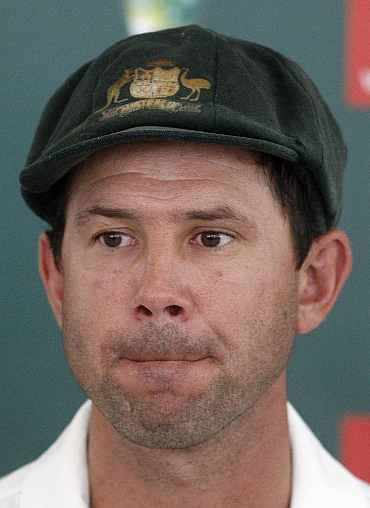 Ricky Ponting answers questions during a press conference