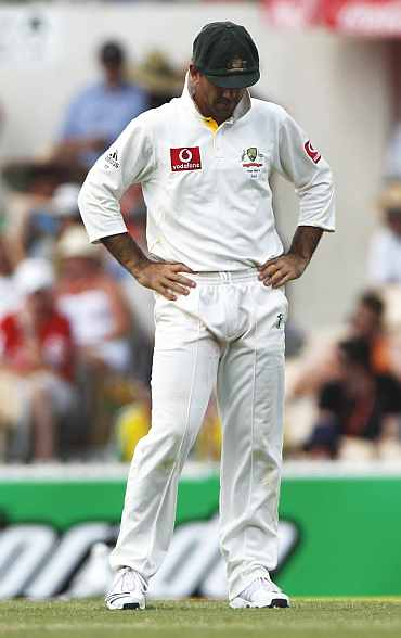 Ricky Ponting reacts during the second Ashes Test in Adelaide