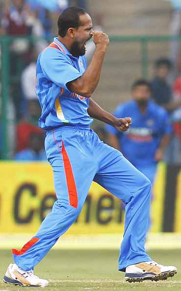 Yusuf Pathan reacts after picking up a wicket