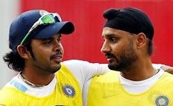 S Sreesanth with Harbhajan Singh