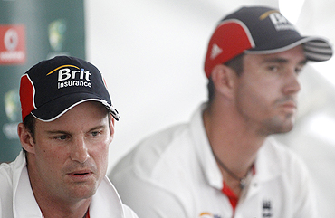England's Andrew Strauss and Kevin Pietersen at a news conference after second Ashes Test in Adelaide