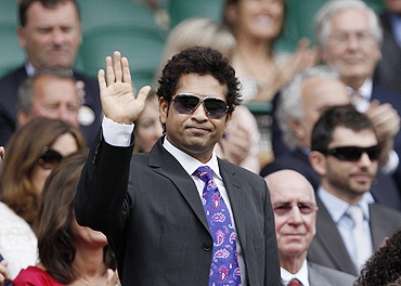 Sachin Tendulkar at Wimbledon earlier this year