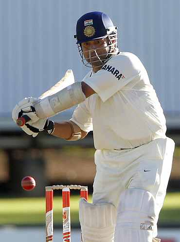 India's Sachin Tendulkar plays a shot during the first Test match against South Africa at Centurion