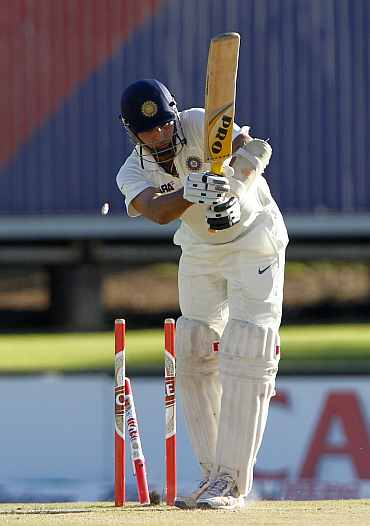 India's VVS Laxman is clean bowled during the first Test match against South Africa at Centurion