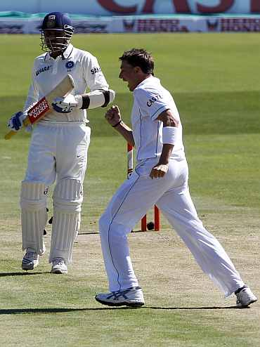 South Africa's Dale Steyn celebrates after picking up India's Virender Sehwag