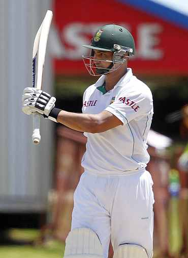 South Africa's Alviro Petersen celebrates his half century during the first Test against India