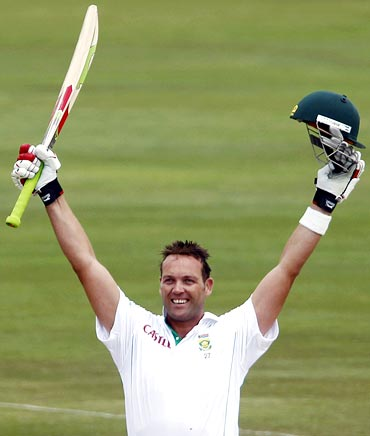 Jacques Kallis celebrates scoring his double century