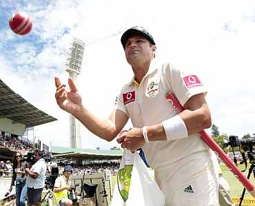 Australia's Ryan Harris reacts after winning the third Ashes Test against England at Perth