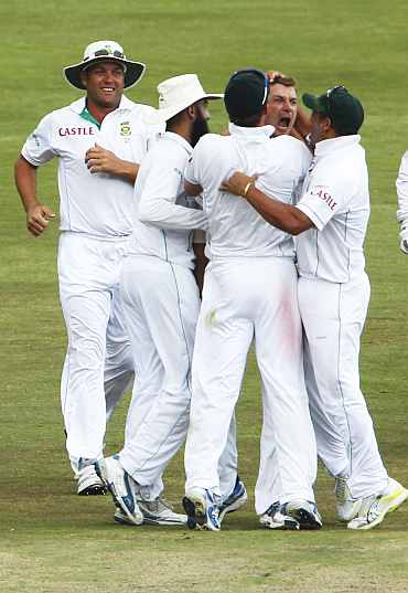 South African team celebrates after winning the Test