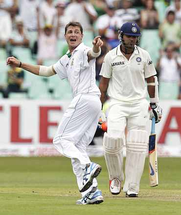 South Africa's Dale Steyn celebrates after dismissing India's Murali
