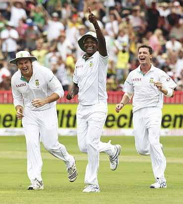 South Africa's Lonwabo Tsotsobe celebrates after taking a catch during the second Test match in Durban