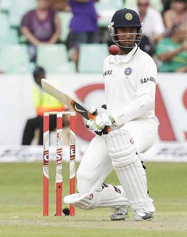 India's Cheteshwar Pujara leaves the ball during the second Test match in Durban