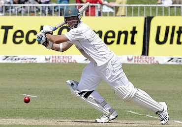 South Africa's Graeme Smith plays a shot during the second Test against India in Durban
