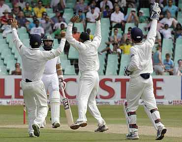 Indian players appeal for a South African wicket duing the second Test in Durban