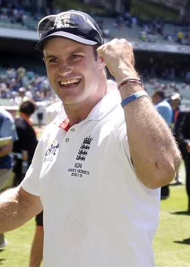 England captain Andrew Strauss walks off the MCG after winning the fourth Test