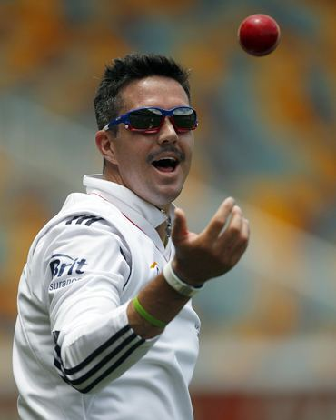 Keven Pietersen plays with the ball ahead of the first Ashes Test