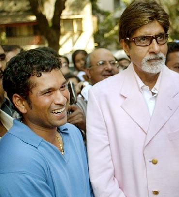 Sachin Tendulkar with Amitabh Bachchan