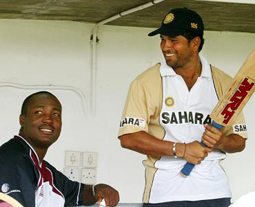 Brian Lara (left) with Sachin Tendulkar
