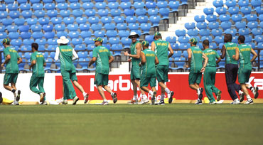 South African team during a warm up session