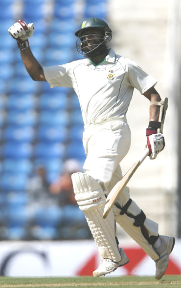 Hashim Amla celebrates after completing his double century